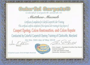 Colorful Carpets® Certificate Awarded to Carpet Cleaning 360 Ottawa, ON, Canada