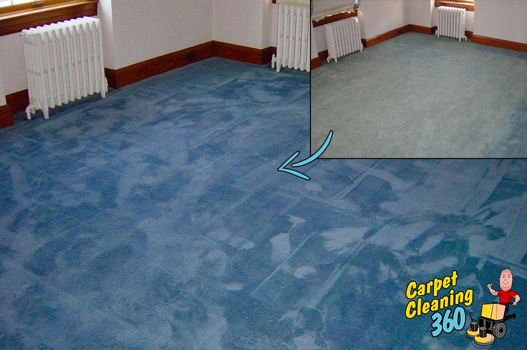Blue carpet before and after colour dye and repair