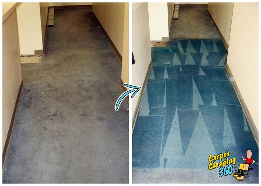 Hallway carpet before and after colour dye process